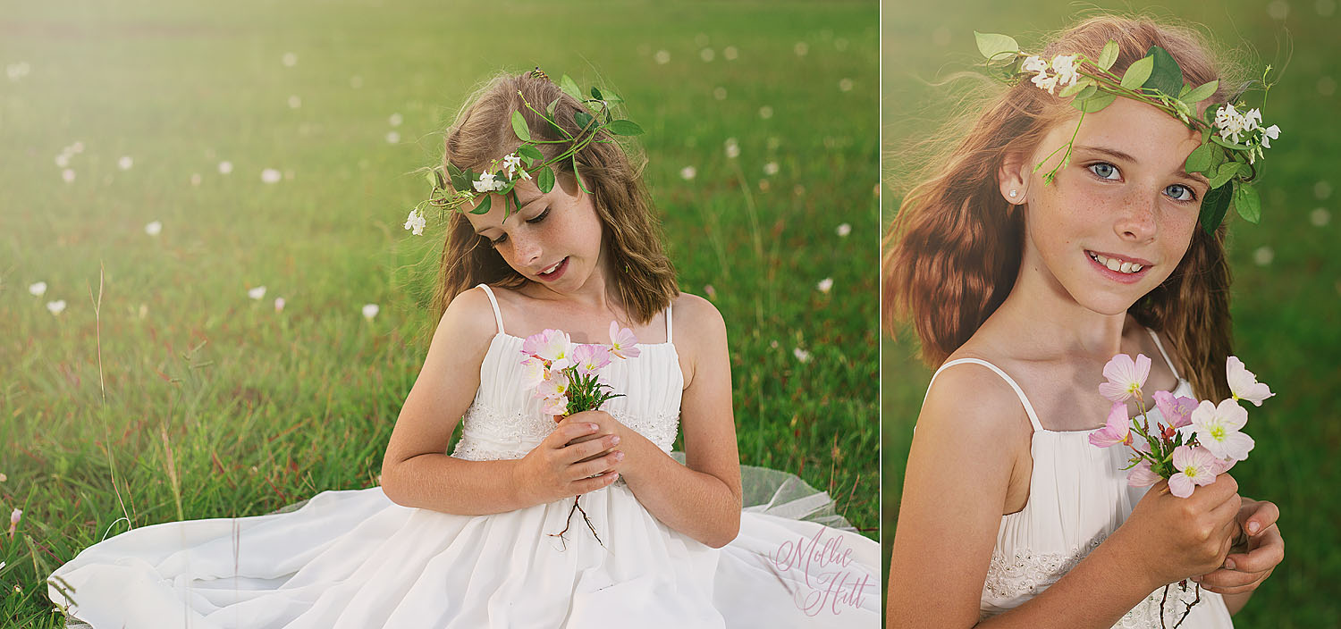 Collage of girl in white dress and flower crown sitting in a field with a bouquet of flowers