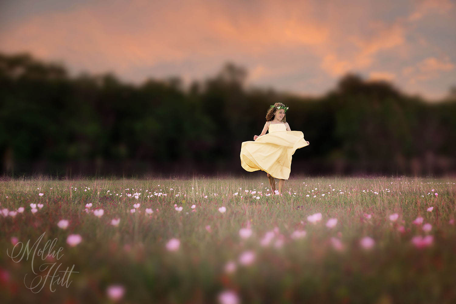 Fairy princess dancing at sunset in a yellow dress in a field of pink flowers