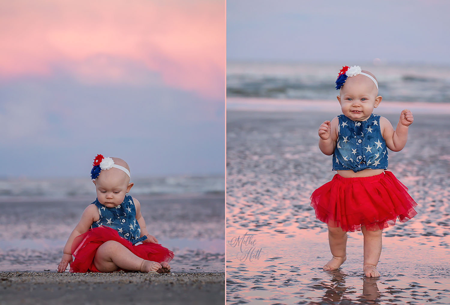 Collage of baby walking on the beach at sunset with beautiful sky reflected in the water