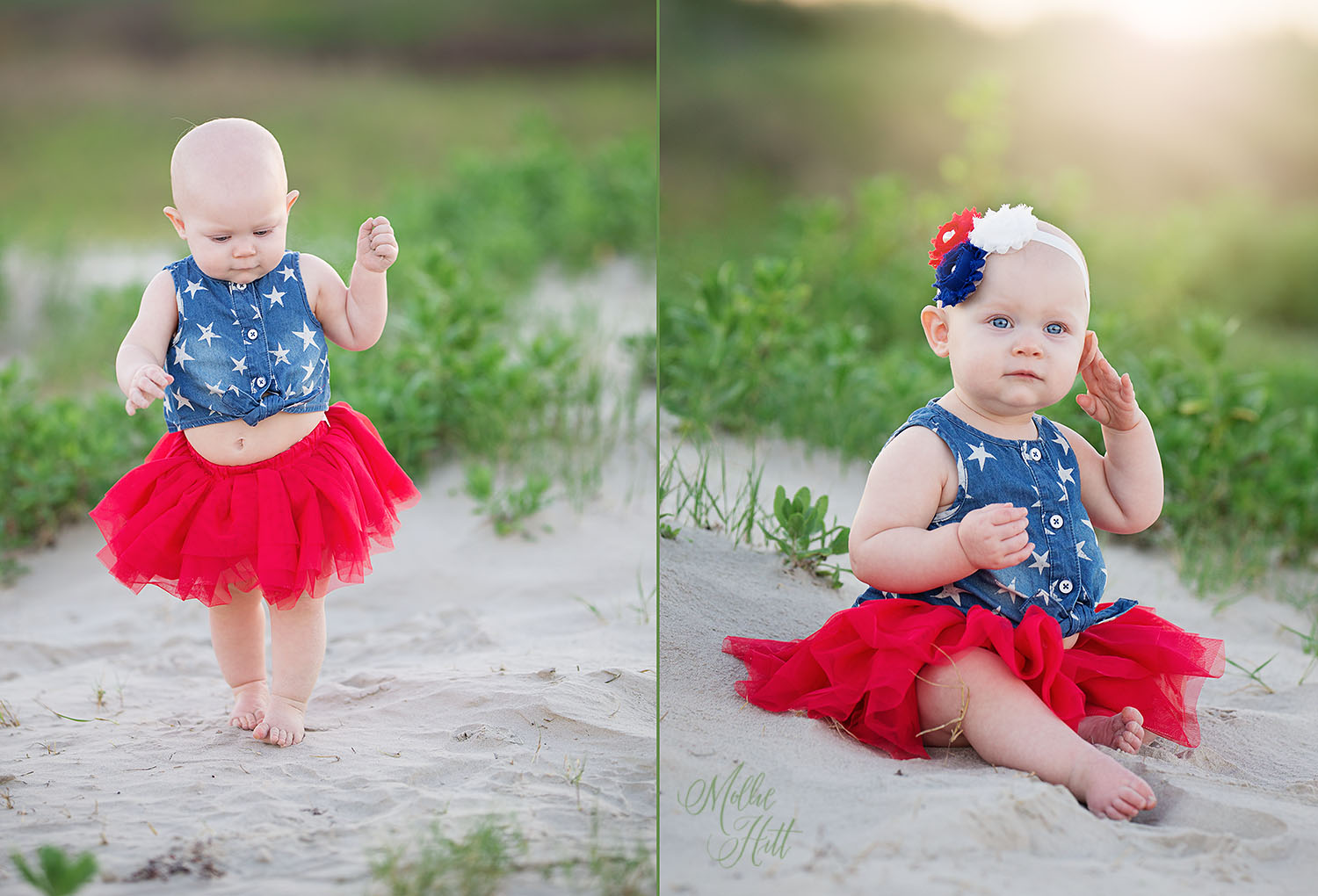 Collage of one year old baby sitting and walking on a beach dune wearing a patriotic red white and blue outfit with tutu