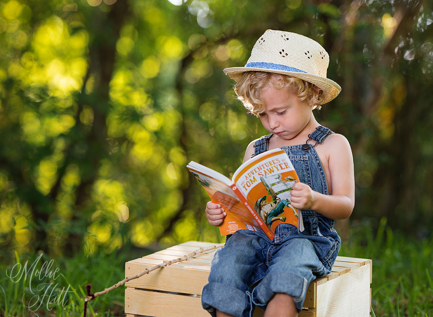 Huck Finn styled session little boy reading Tom Sawyer