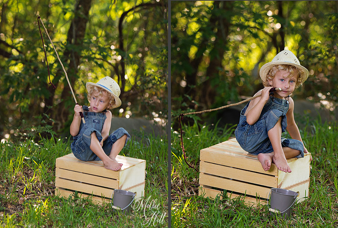 Collage of little boy sitting on a crate in the woods pretending to fish