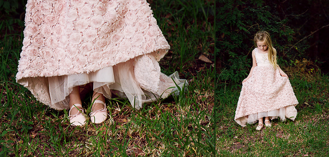 Girl in princess dress with ballet shoes carefully steps down a hill